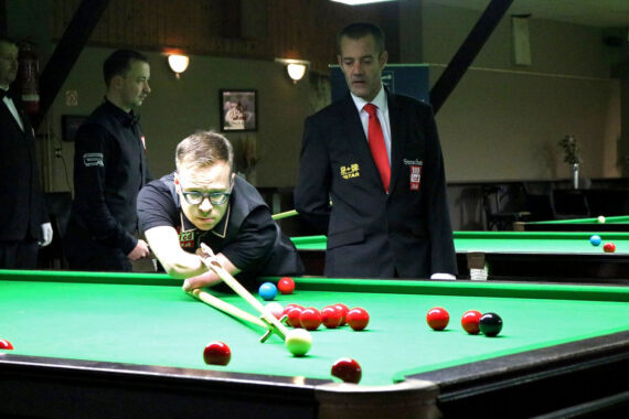 Joe Hardstaff plays snooker shot