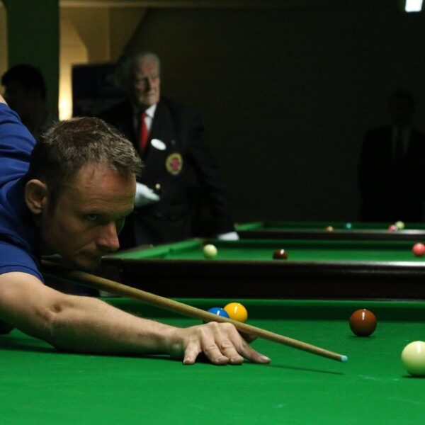 Nick Neale plays snooker shot